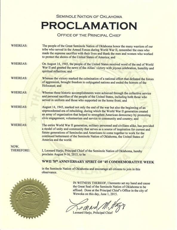 national intervention week proclamation